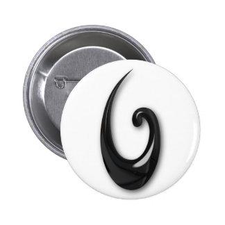Maori-Fish Hook-obsidian Pinback Button