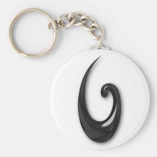 Maori-Fish Hook-obsidian Keychain