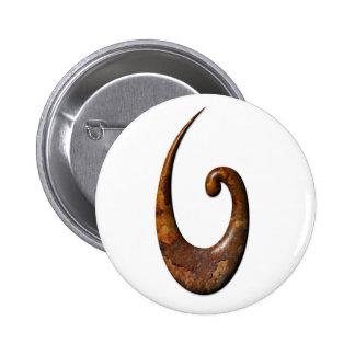 Maori Fish Hook - Rust Button