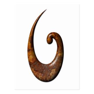 Maori Fish Hook - Rust Postcard