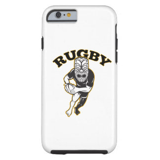 Maori Mask Rugby Player Running With Ball Fending Tough iPhone 6 Case