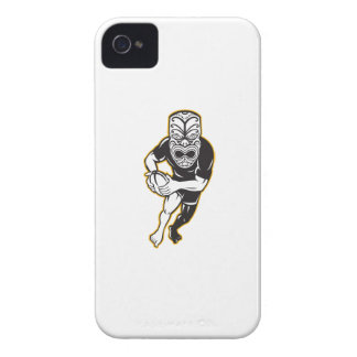 Maori Mask Rugby Player Running With Ball Fending iPhone 4 Case