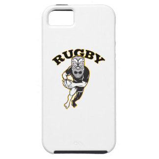 Maori Mask Rugby Player Running With Ball Fending iPhone 5 Cases