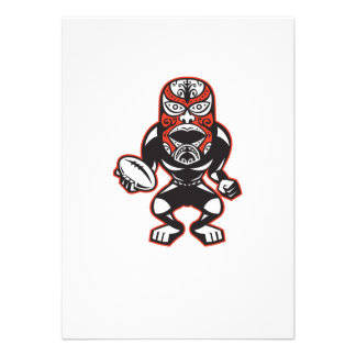 Maori Mask Rugby Player Running With Ball Fending Personalized Invitations