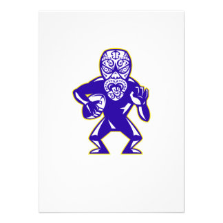 Maori Mask Rugby Player Running With Ball Fending Invitations