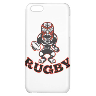 Maori Mask Rugby Player Running With Ball Fending iPhone 5C Cases