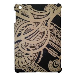 Maori tattoo art on wood cover for the iPad mini