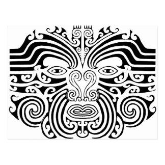 Maori Tattoo - Black and White Postcard