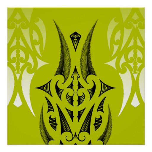 Maori tattoo design with feathers poster
