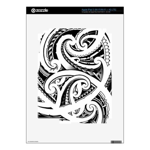 Maori tattoo design with koru/fern pattern skin for iPad 3