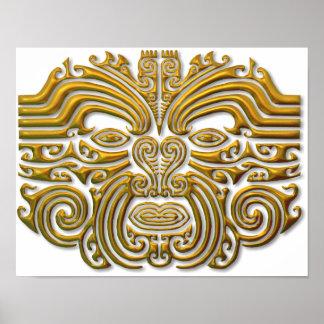 Maori Tattoo - Gold Poster