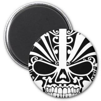 Maori Tattoo Mask Skull 2 Inch Round Magnet