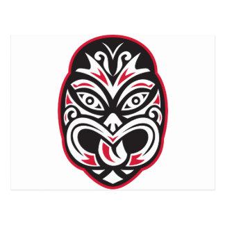 maori tiki moko tattoo mask postcard