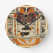 Maori Tribal Animal Spirits Round Clock