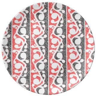 Maori Tribal Distressed Pattern Porcelain Plate