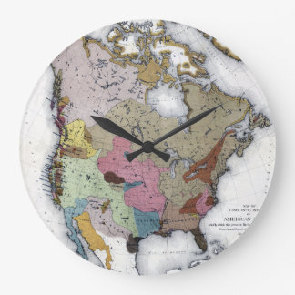 MAP: AMERICAN INDIANS 3 LARGE CLOCK