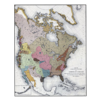 MAP: AMERICAN INDIANS 3 WOOD PRINT