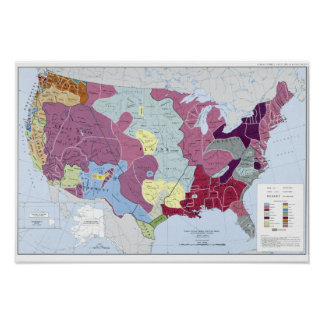 MAP: AMERICAN INDIANS POSTER