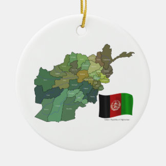 Map and Flag of Afghanistan Ceramic Ornament