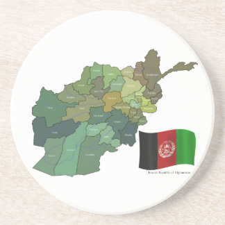 Map and Flag of Afghanistan Drink Coaster