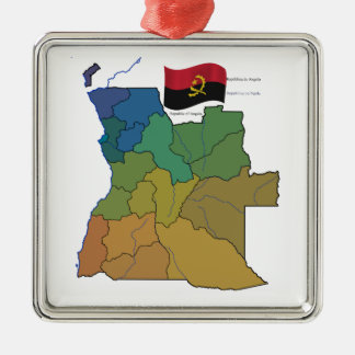 Map and Flag of Angola Metal Ornament