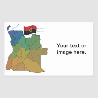 Map and Flag of Angola Rectangular Sticker