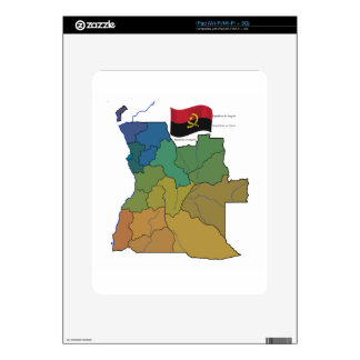 Map and Flag of Angola Decals For iPad