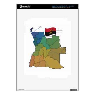 Map and Flag of Angola Skins For iPad 3