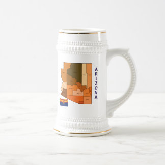 Map and Flag of Arizona Beer Stein