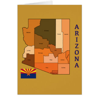 Map and Flag of Arizona Card