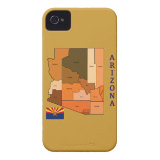 Map and Flag of Arizona iPhone 4 Case
