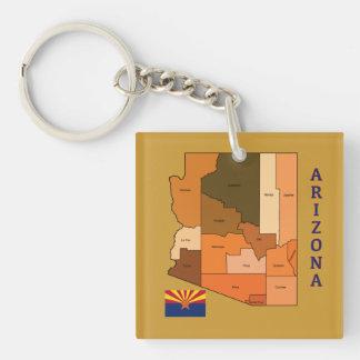 Map and Flag of Arizona Keychain