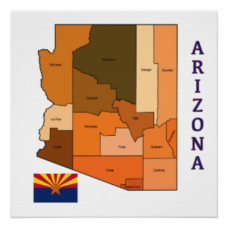Map and Flag of Arizona Poster