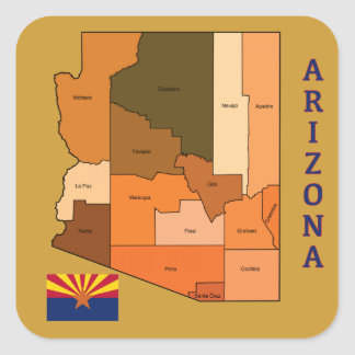 Map and Flag of Arizona Square Sticker