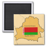Map and Flag of Belarus 2 Inch Square Magnet