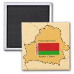 Map and Flag of Belarus Fridge Magnets