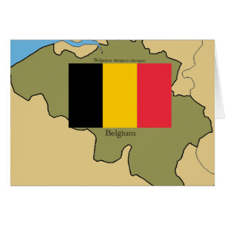 Map and Flag of Belgium Card
