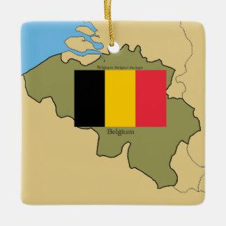 Map and Flag of Belgium Ceramic Ornament