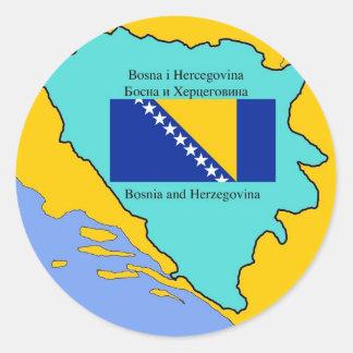 Map and Flag of Bosnia Herzegovina Classic Round Sticker