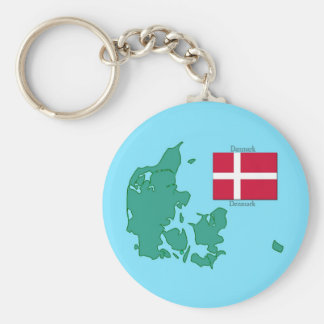 Map and Flag of Denmark Keychain