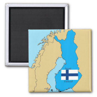 Map and Flag of Finland 2 Inch Square Magnet
