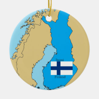 Map and Flag of Finland Double-Sided Ceramic Round Christmas Ornament