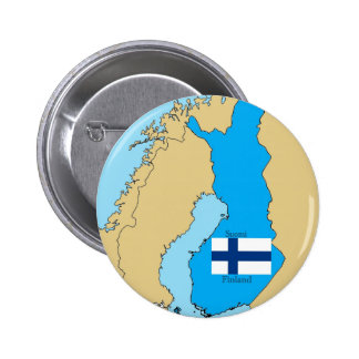 Map and Flag of Finland Pinback Button