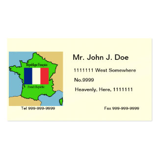 Map and Flag of France Double-Sided Standard Business Cards (Pack Of 100)