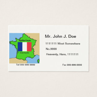 Map and Flag of France Business Card
