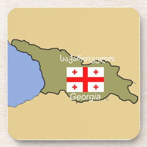 Map and Flag of Georgia Drink Coasters