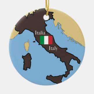 Map and flag of Italy Ceramic Ornament