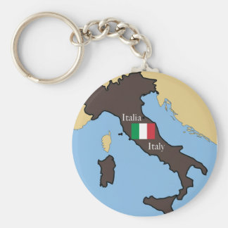 Map and flag of Italy Keychain