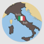 Map and flag of Italy Sticker