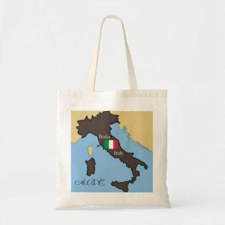 Map and flag of Italy Tote Bag